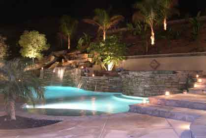 Beautiful Swimming Pool And Landscape Lighting